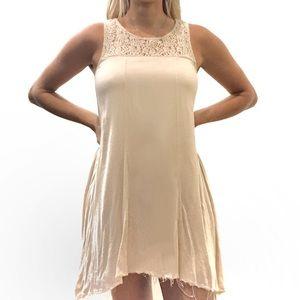 Altar'd State Lace Trim Mini Swing Dress Raw Edge
